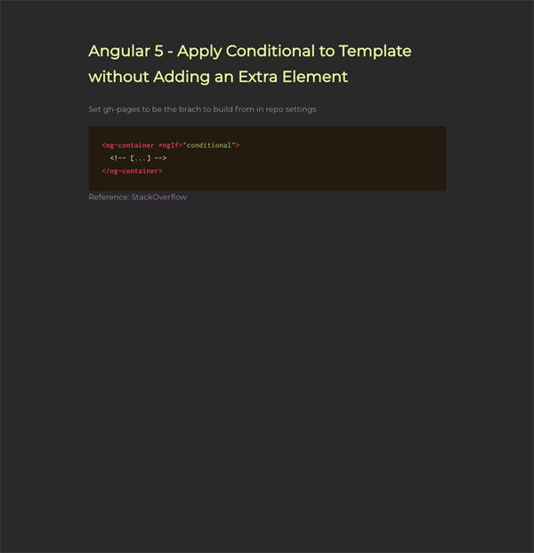 Angular 5 - Apply Conditional to Template without Adding an Extra Element