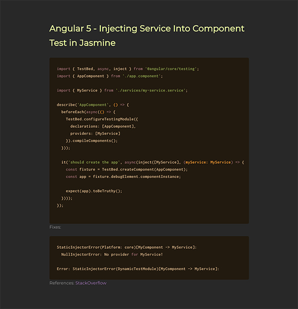 Angular 5 - Injecting Service Into Component Test in Jasmine