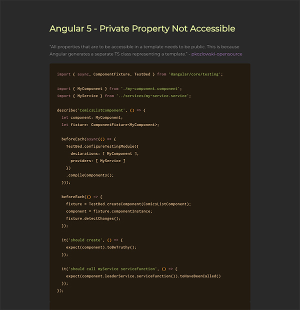 Angular 5 - Private Property Not Accessible