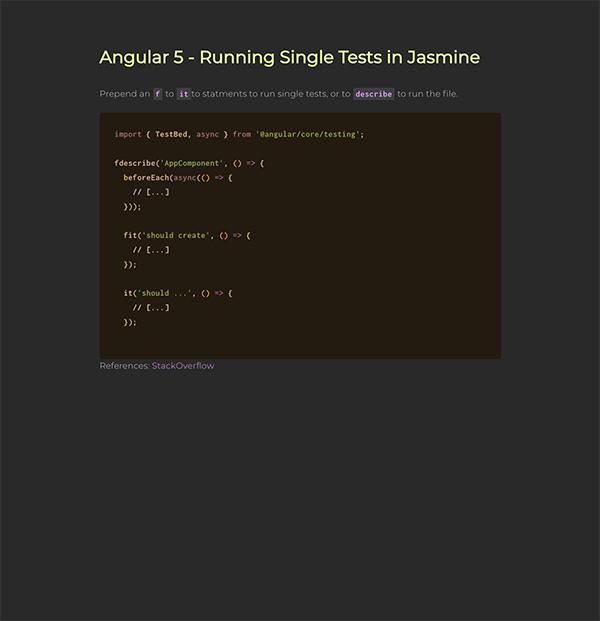 Angular 5 - Running Single Tests in Jasmine