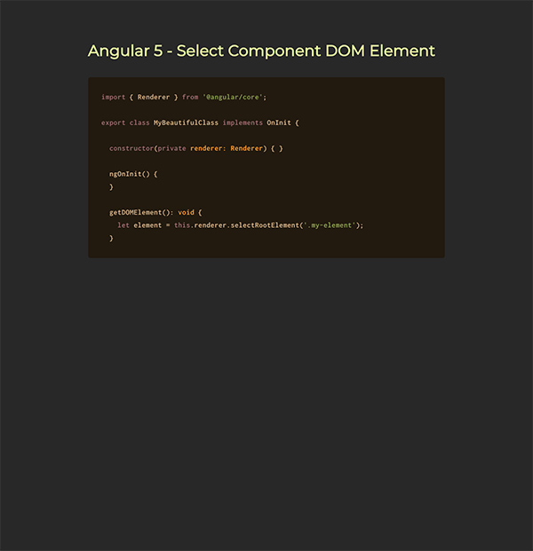 Angular 5 - Select Component DOM Element