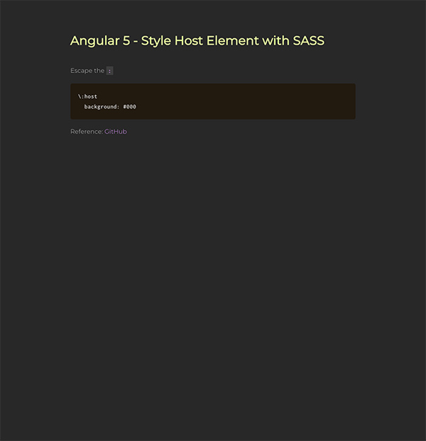 Angular 5 - Style Host Element with SASS