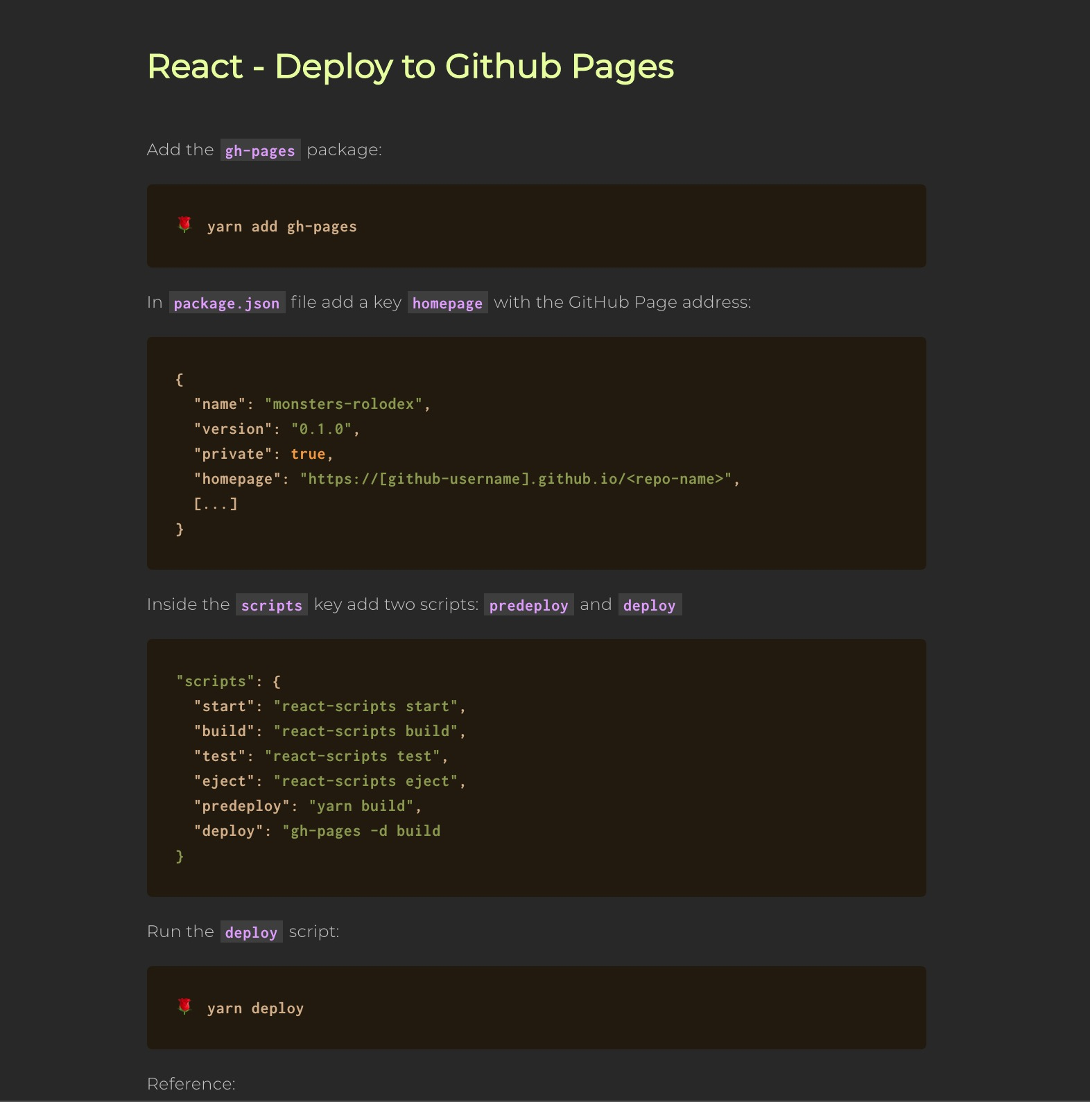 React - Deploy to GitHub Pages